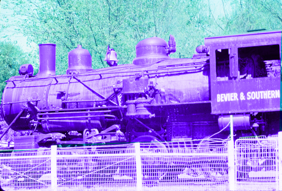 Bevier & Southern locomotive #112 on display in downtown Bevier, May 1983